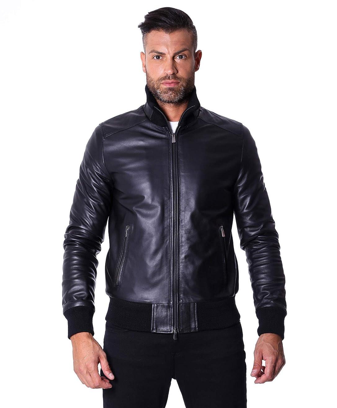 Men's Italian Leather Bomber Jacket Black