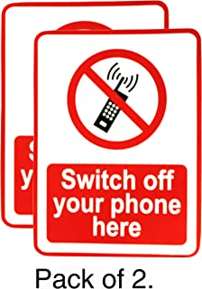 eSplanade Switch Off Your Phone/Mobile   No Mobile Allowed Sign Sticker Decal - Easy to Mount Weather Resistant Long Lasting Ink (Size -7.5