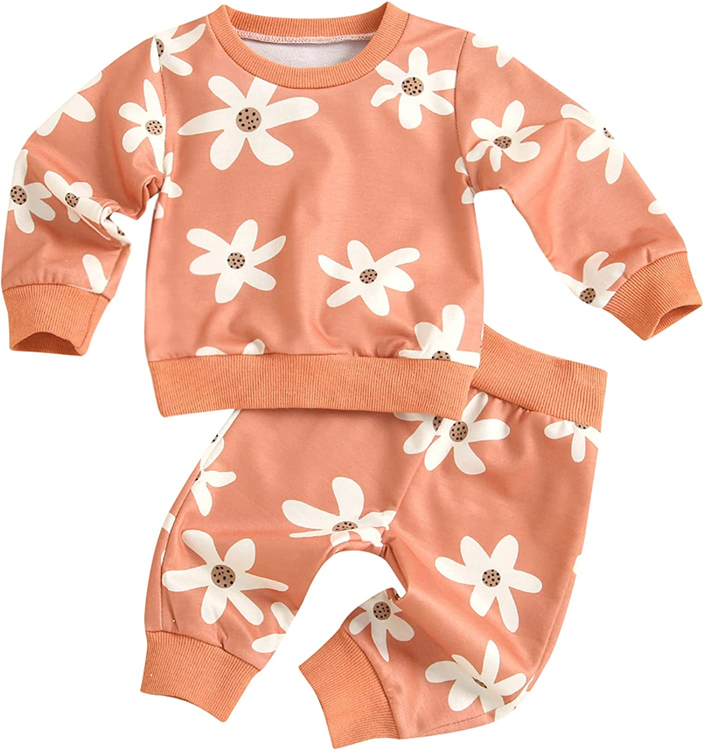 Newborn Infant Baby Girl Clothes Set Long Sleeve Flower Pullover Sweatshirts Long Pants Outfits
