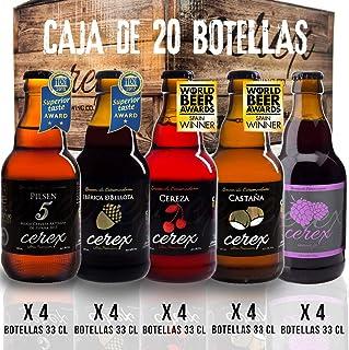 CEREX - Pack 20 cervezas artesanales Cerex 33 cl. (4 Pilsen, 4 Ibérica de Bellota, 4 Castaña, 4 Cereza, 4 Frambuesa) - Mej...