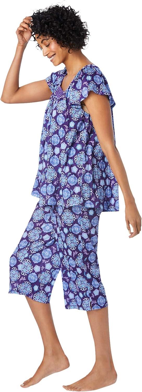 Dreams & Co. Women's Plus Size Gauze Capri Pj Set