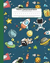 Primary Composition Notebook Handwriting Practice Paper: Kindergarten to Early Childhood Exercise Book   120 Dashed Midline Pages   Green - Astronaut (Outer Space Astronomy Series)