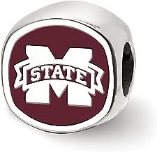 Bonyak Jewelry Sterling Silver LogoArt Mississippi State U Cushion Shaped Double Logo Bead