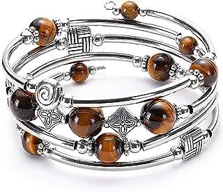 YooAi Wrap Bracelet Bohème Perlé Bracelet Multicolore Turquoise Élastique Empilable Pendentif Bracelet pour Femmes