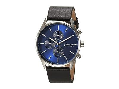 Skagen Holst Multi-Function Watch (SKW6606 Silver Black Leather) Analog Watches