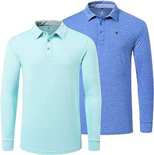 MoFiz Men's Long Sleeve Polo Shirt Regular Fit Active Running Shirt