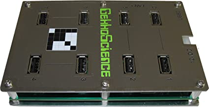 GekkoScience 7-Port USB 2.0 Base Hub ⋆ High Power 100W 5V 18A Total, ~3A Power per Port, Engineered for High Power & Performance ⋆ Perfect for USB Miners Bitcoin/Crypto [NewPac, 2PAC, Moonlander]