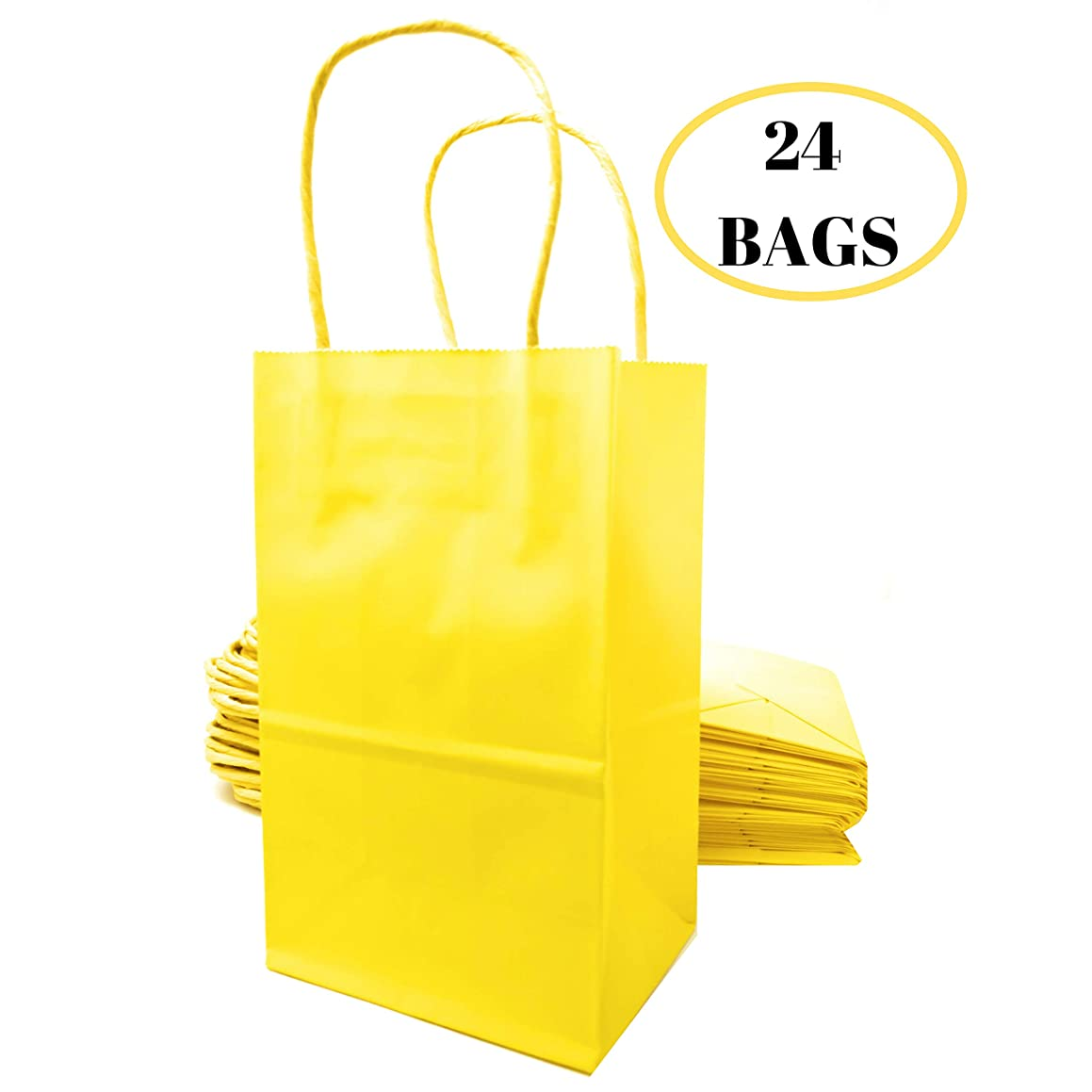 """Kelkaa Party Kraft Paper Bags – 24pcs 5.25X3.5X8.5"""" Gift Bags with Handles for Birthday, Wedding Party Favors, Bachelorette Party, Paper Tote Bags, Party Themes - Small Yellow"""