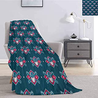 jecycleus Sports Children's Blanket Modern Baseball Pattern Competing Player Uniform Fun Games Artwork Lightweight Soft Warm and Comfortable W80 by L60 Inch Petrol Blue Hot Pink White