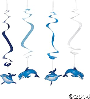 Fun Express Dolphin Party Dangling Swirls Party Decorations and Ceiling Decorations - 12 Pieces