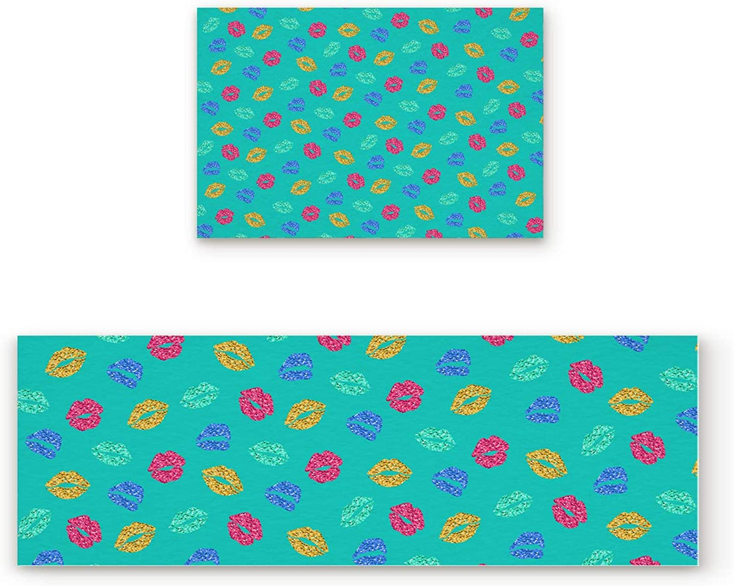 Fantasy Star Kitchen Rugs Sets 2 Piece Floor Mats Teal Background colorful Sexy Lips Doormat Non-Slip Rubber Backing Area Rugs Washable Carpet Inside Door Mat Pad Sets (19.7  x 31.5 +19.7  x 63 )