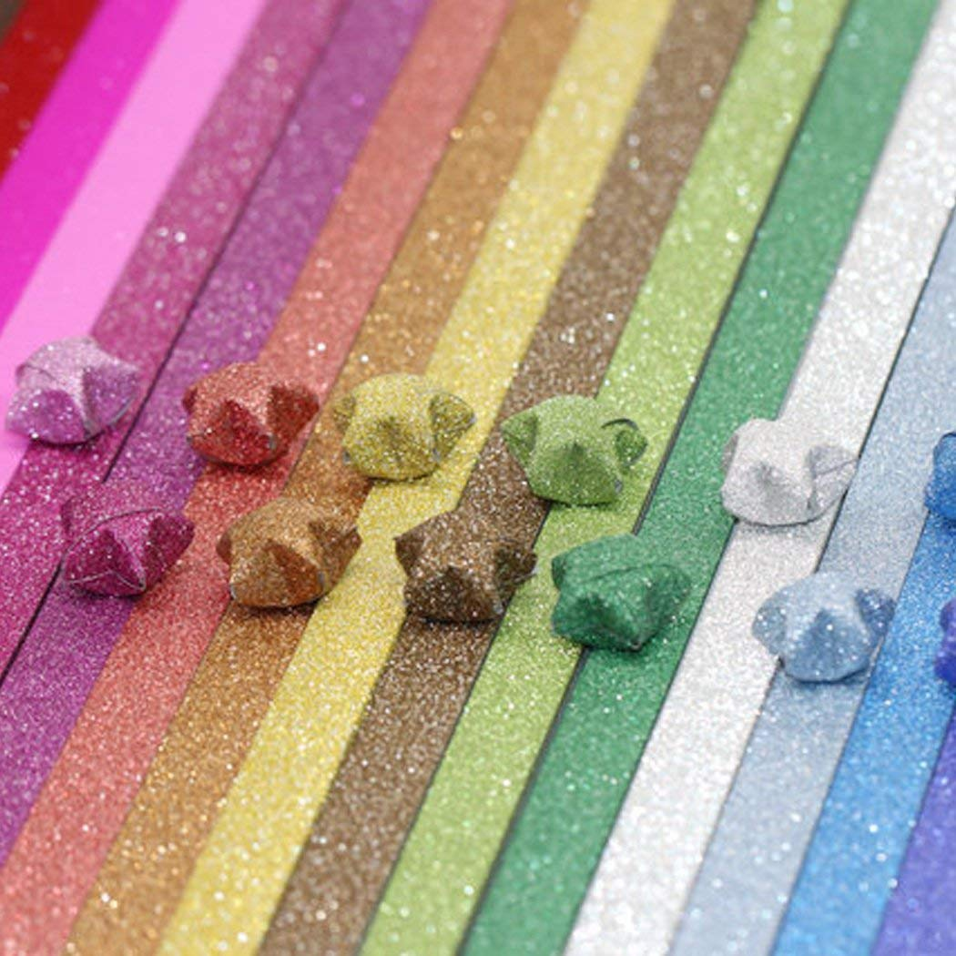 200Pcs Star Origami Paper Solid Color 10 Style of Lucky Star Glitter Origami Paper DIY Star Paper Strip