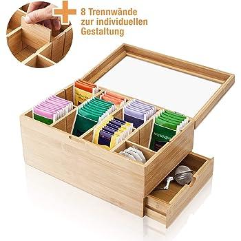 Amazy Scatola porta tè in bambù (8 SCOMPARTI + CASSETTO LATERALE) – Contenitore Bustine tè in vero legno di Bambù con scompartimento laterale per accessori da te e tisane, 31x19x14,5cm