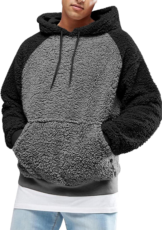 Portland Mall Gafeng Mens Sherpa Hoodies Fuzzy Sleeve Winter Los Angeles Mall Long Fleece Heavy