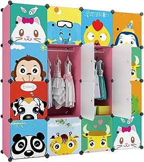 KOUSI Portable Kids Wardrobe Closet Children Dresser Hanging Storage Rack Clothes Closet Bedroom Armoire Cube Organizer Fo...