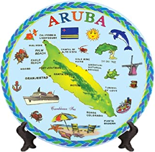 Rockin Gear Decorative Mini Plate - Aruba Blue Map Souvenir and Gift Kitchen Plate with Display Stand 5
