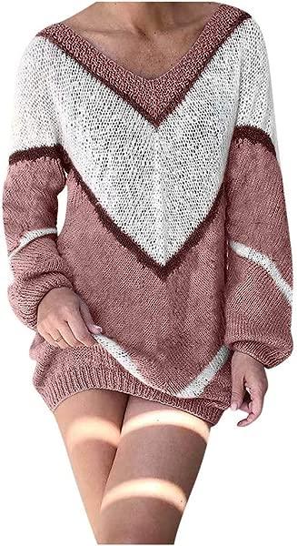 TIFENNY V 拼色毛衣女 v领性感毛衣套头衫拼色长袖迷你连衣裙