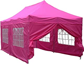 DELTA Canopies 10'x20' Ez Pop up Canopy Party Tent Instant Gazebos 100% Waterproof Top with 6 Removable Sides Pink - E Model