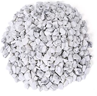 favoramulet White Howlite Turquoise Tumbled Stone Chips, Polished Crushed Healing Crystal Quartz Pieces Vase Filler 1 LB