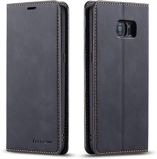 FMPC Coque pour Samsung Galaxy S7, Tenphone Etui Protection Housse Premium PU en Cuir Livre Cover Antichoc Magnétique Portefeuille (Noir)