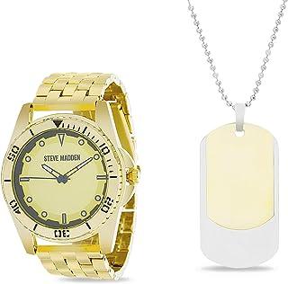 Steve Madden Dogtag Pendant Men's Watch Necklace Set (SMWS064)