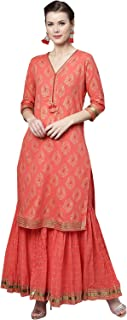 Ishin Women's Cotton Red Printed Gota Patti Work A-Line Kurta Palazzo Set