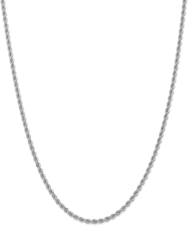 14K Inexpensive White Gold 2.75mm Handmade Regular Chain In Rope 20 half Necklace