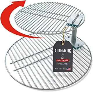 SmokeWare Stacker & Grill Grate Combo (Top Grate and Stacker Only) – Compatible with Large Big Green Eggs, Stainless Steel Grill Accessories