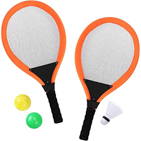Tennisbälle Federball Bälle 4-tlg Kinder Tennis Set Ballspiel 2 Tennisschläger
