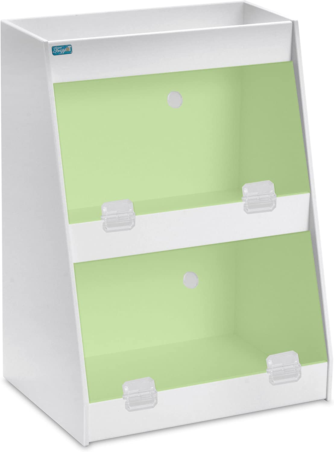 TrippNT 50013 PVC Angled Triple Safety Shelves with Green Door, 12-Inch Width x 16-Inch Height x 9-Inch Depth, Green White
