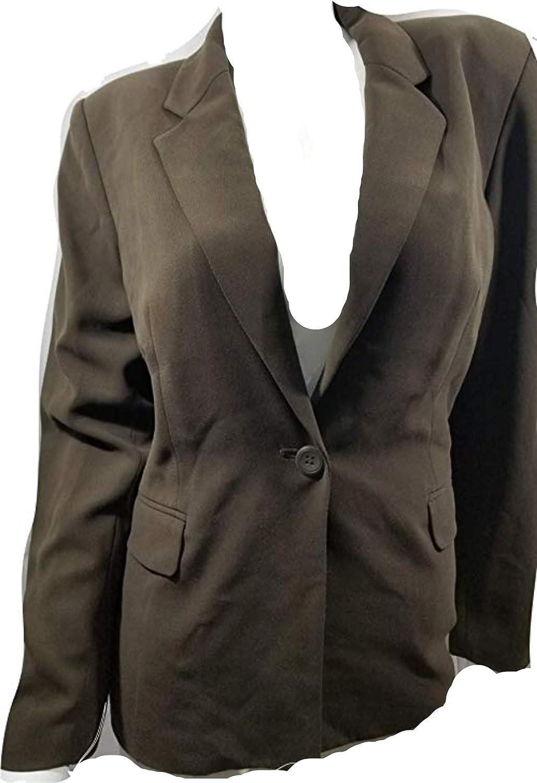 Style & Co. Brown Striped Blazer Stretch 12