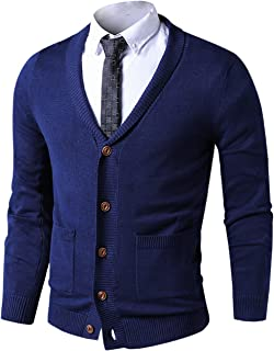 LTIFONE Mens Slim Fit Soft Cable Knit Shawl Collar Button Down Cardigan Sweater with Ribbing Edge