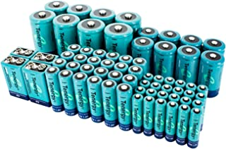 Tenergy AA AAA C D 9V Battery, NiMH Rechargeable Batteries Combo, 68-Pack, 24-Pack 2600mAh AA Cells, 24-Pack 1000mAh AAA Cells, 8-Pack 5000mAh C Cells, 8-Pack 10000mAh D Cells and 4-Cell 9V Batteries