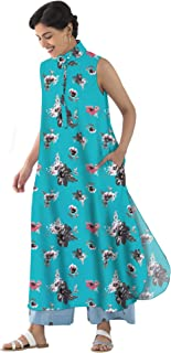 RADANYA Summer Sleeveless Tops Tunic Kurta Floral Printed Casual Long Kurti with 2 Pockets for Womens