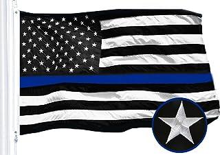 Best G128 - Thin Blue Line Embroidered U.S. American Flag 3X5 FT Brass Grommets Honoring Men Women Law Enforcement Black White Blue US Flag Review