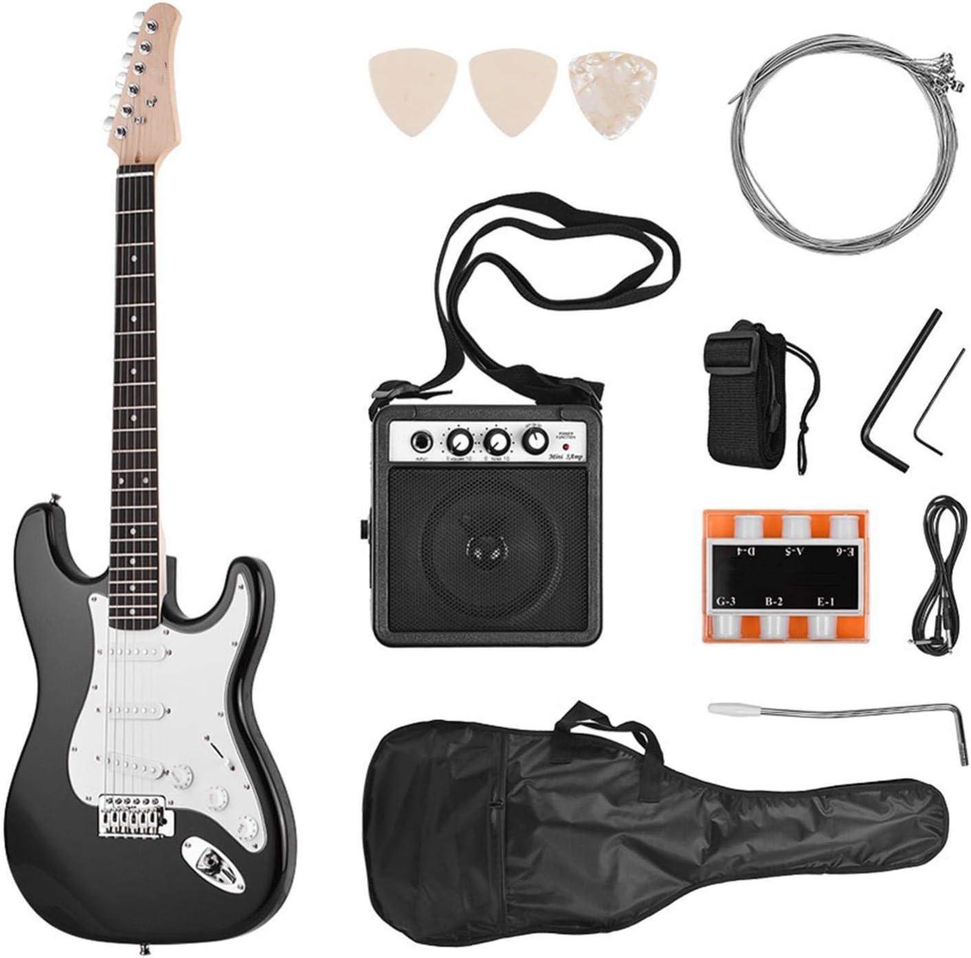 KEPOHK Guitarra eléctrica Madera maciza Paulownia Cuerpo 21 trastes 6 cuerdas con altavoz Pitch Pipe Guitar Bag Correa Selecciones Mano derecha Negro-Mano derecha