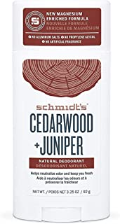 Schmidt's Natural Deodorant For Odor Protection Cedarwood + Juniper Free of Aluminum Salts, Gluten, and Cruelty (Pack of 2)