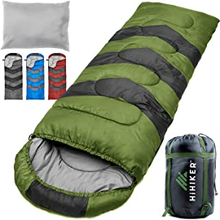 HiHiker Camping Sleeping Bag + Travel Pillow w/Compact Compression Sack - 4 Season Sleeping Bag for Adults & Kids - Lightw...