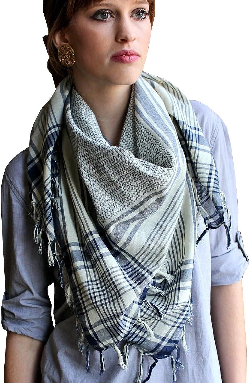Anika Dali Women's Addison Shemagh Tactical Desert Square Scarf, Natural Cotton Super Soft