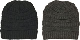 PEACE UNLTD. NY Winter Warm Chunky Stretchy Cable Knit Soft Fleece Lined Solid Skully Beanie Hat