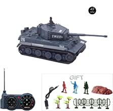 Fun-Here Mini RC Tank with USB Charger Cable Remote Control Panzer Tank 1:72 German Tiger I with Sound, Rotating Turret and Recoil Action When Cannon Artillery Shoots 49MHz (Gray)