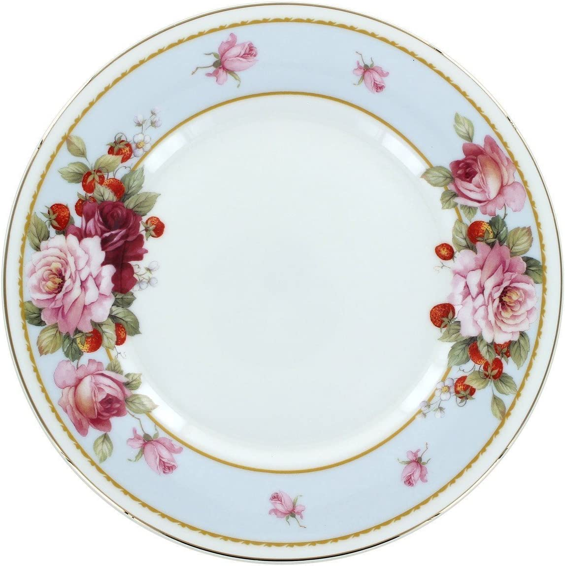 Peony and Strawberry Blue Bone shopping China Plates Super beauty product restock quality top! - 4 Dessert Set of