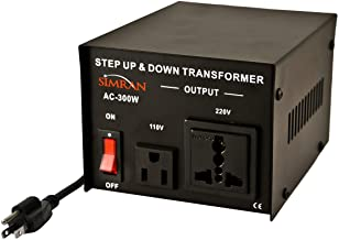 Simran AC-300 Step Up/Down Voltage Converter Transformer 110V/220V - 300 Watts,Black
