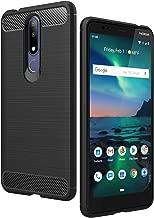 جراب Nokia 3.1 Plus (إصدار US Cricket اللاسلكي)، غطاء AVIDET خفيف الوزن وناعم من ألياف الكربون TPU مع تصميم أملس متوافق مع Nokia 3.1 Plus (أسود)
