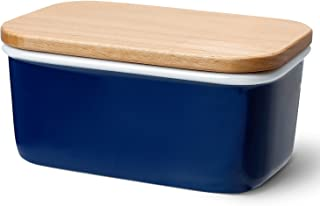 Sweese 3160 Large Butter Dish - Porcelain Keeper with Beech Wooden Lid, Perfect for 2 Sticks of Butter, Navy