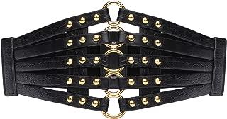 Womens Faux Leather 5 Metal Rings Wide Waist Belt Elastic Waist Belt
