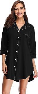 SHEKINI Chemise de Nuit en Coton à Manches 3/4 pour Femmes Robe de Nuit Fit Comfy Vetements de Nuit Flatteur Pyjama