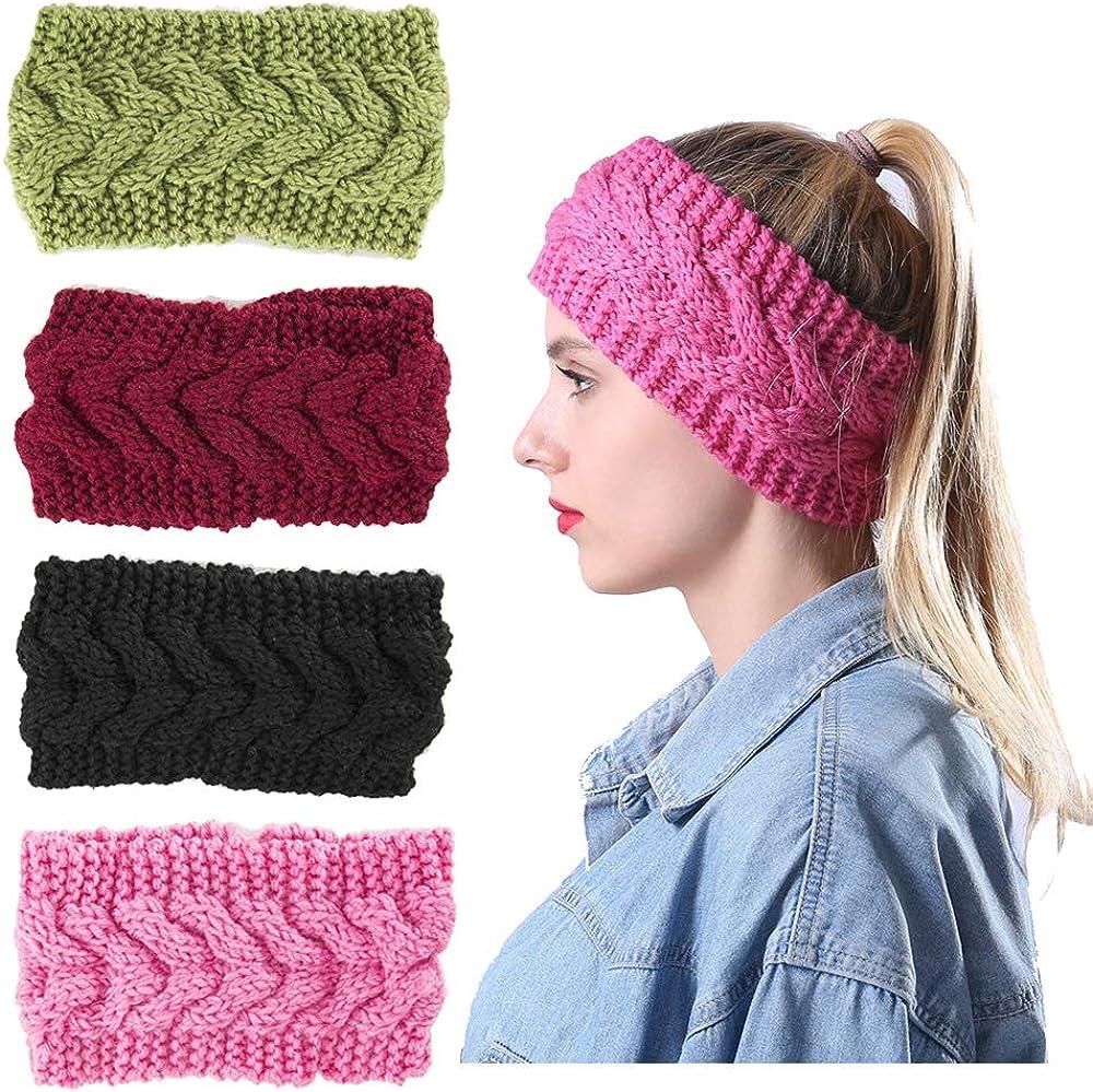 Womens Cable Winter Knitted Headband - Twist Hair Band Headwrap Ear Warmer Headband