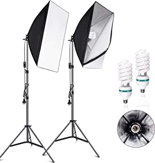 VOLKWELL Softbox Lighting Kit Professional Photography 2x135W Continuous Light Studio Equipment with 5500K 2X E27 Socket B...