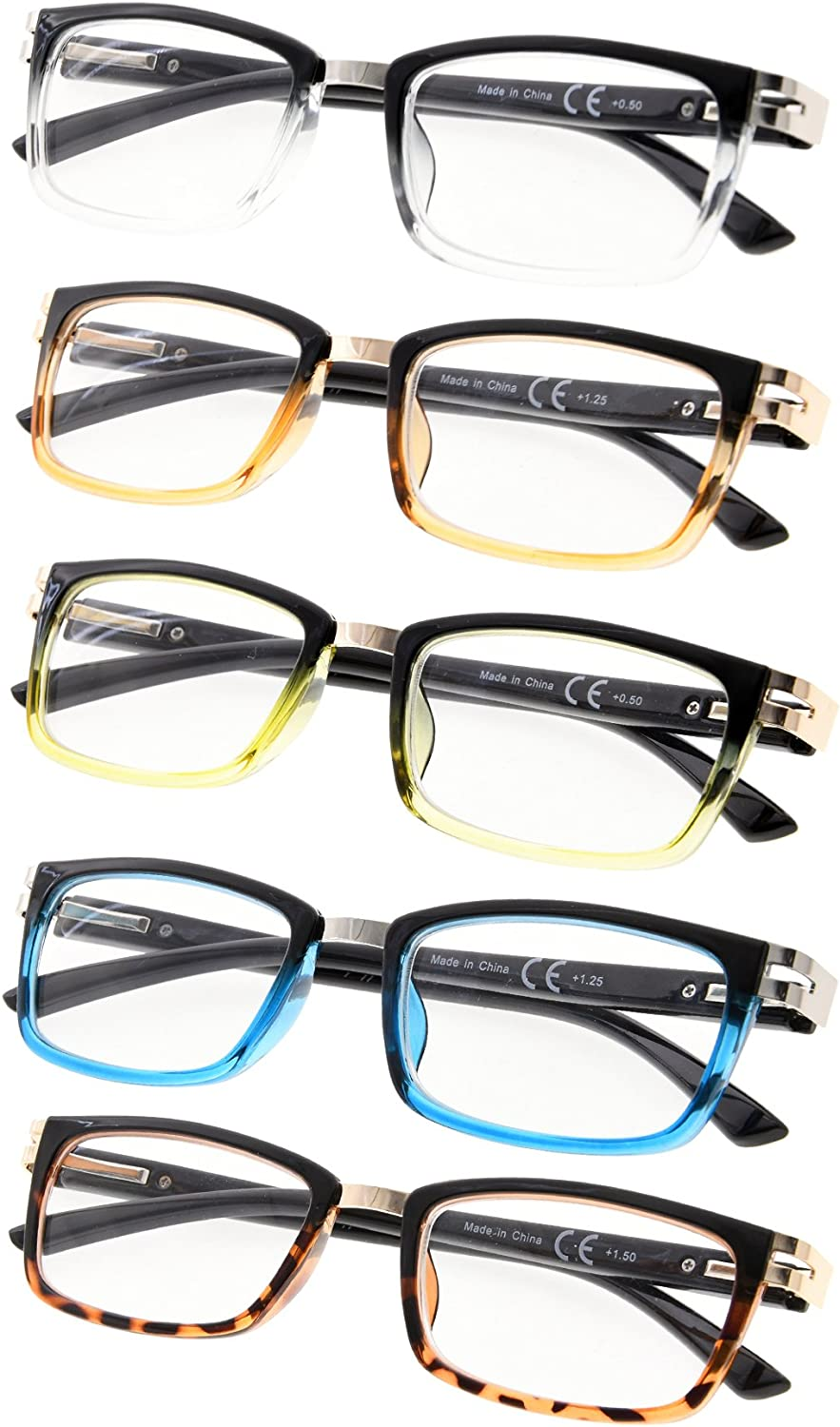 5Pack Reading Glasses with Spring Hinges